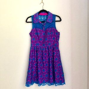Lilly Pulitzer Pink with Blue Flower Overlay Dress